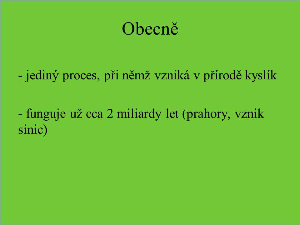 Obecně - jediný proces, při němž vzniká v přírodě kyslík - funguje už cca 2 miliardy let (prahory, vznik sinic)