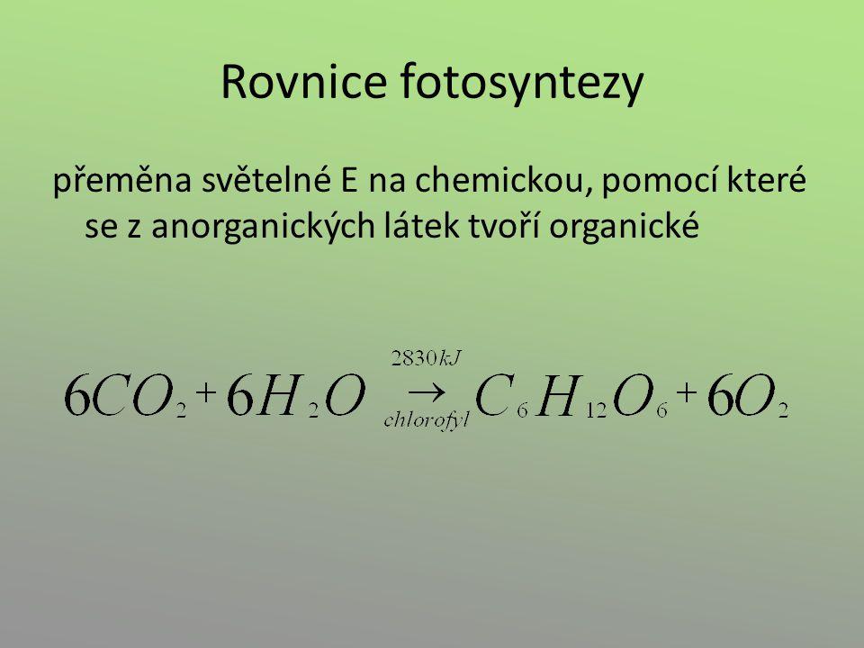 Rovnice fotosyntezy přeměna světelné E na chemickou, pomocí které se z anorganických látek tvoří organické.