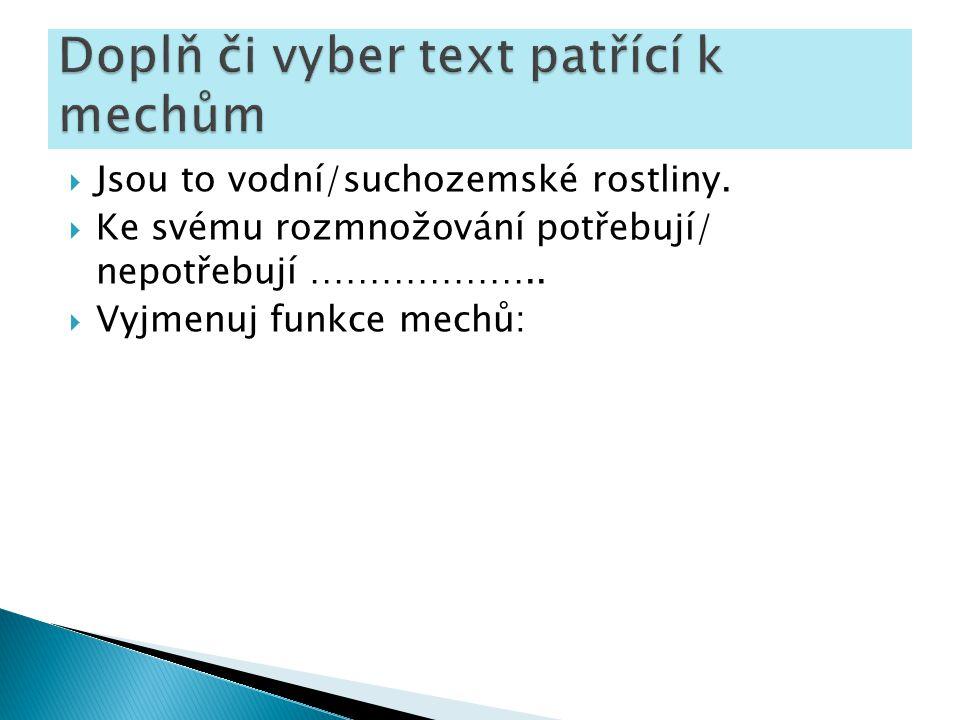 Doplň či vyber text patřící k mechům