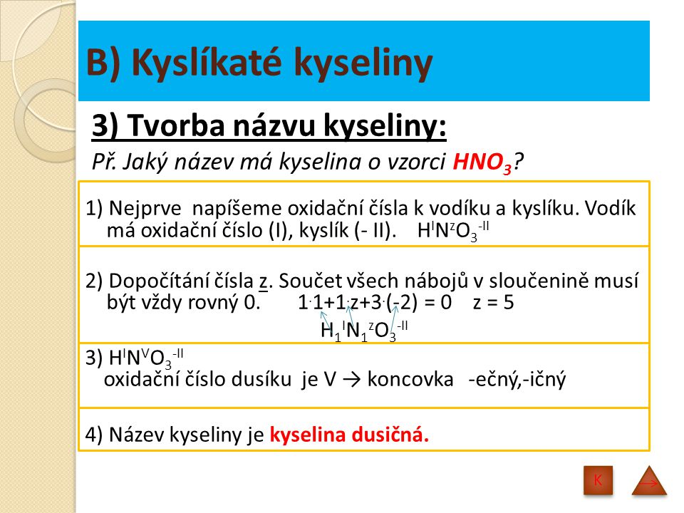 B) Kyslíkaté kyseliny 3) Tvorba názvu kyseliny: