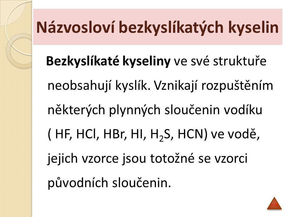 Názvosloví bezkyslíkatých kyselin
