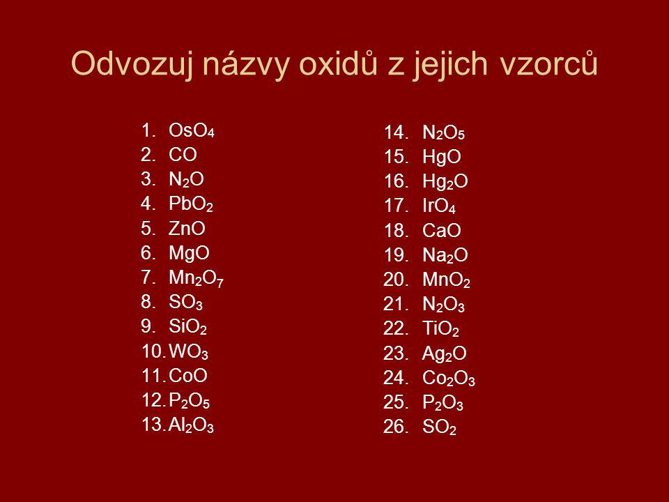 Odvozuj názvy oxidů z jejich vzorců