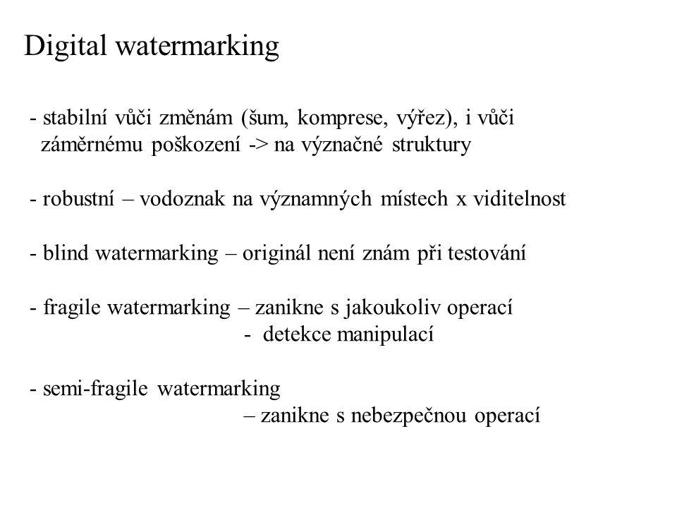 Digital watermarking - stabilní vůči změnám (šum, komprese, výřez), i vůči. záměrnému poškození -> na význačné struktury.