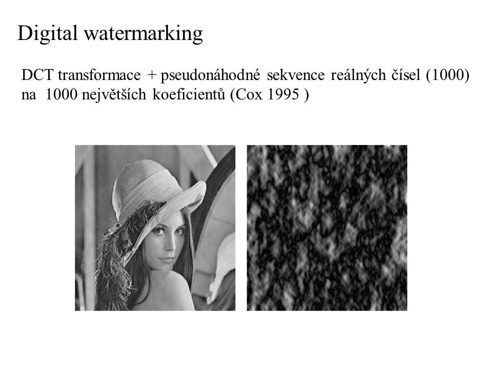 Digital watermarking DCT transformace + pseudonáhodné sekvence reálných čísel (1000) na 1000 největších koeficientů (Cox 1995 )