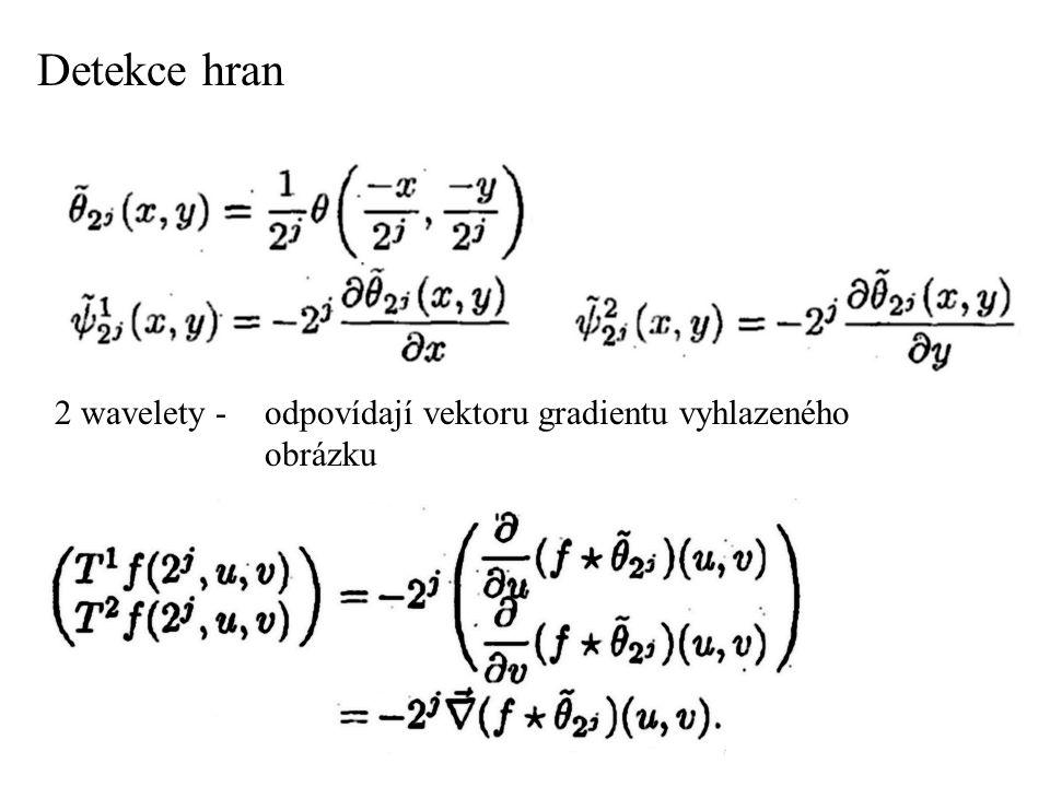 Detekce hran 2 wavelety - odpovídají vektoru gradientu vyhlazeného