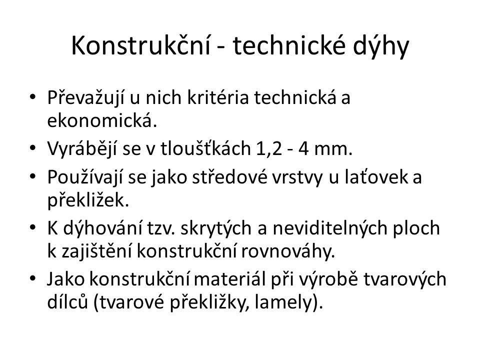 Konstrukční - technické dýhy