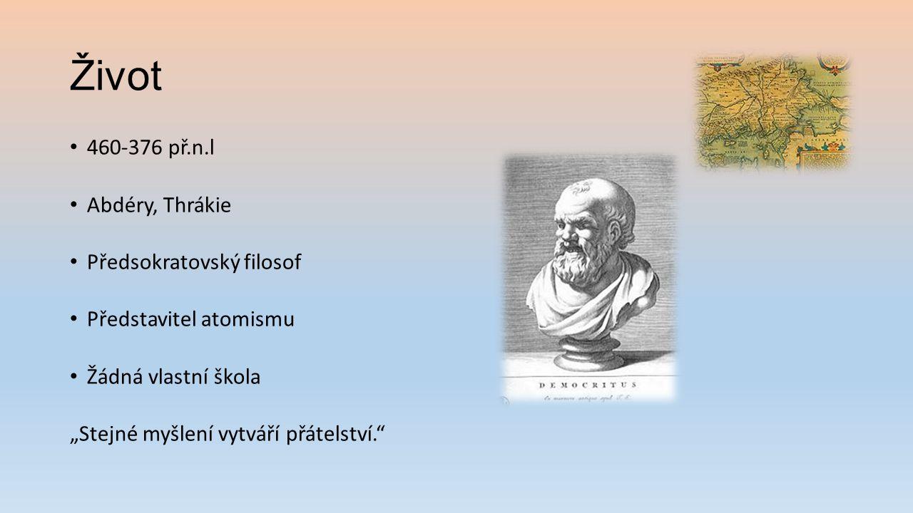 Život 460-376 př.n.l Abdéry, Thrákie Předsokratovský filosof