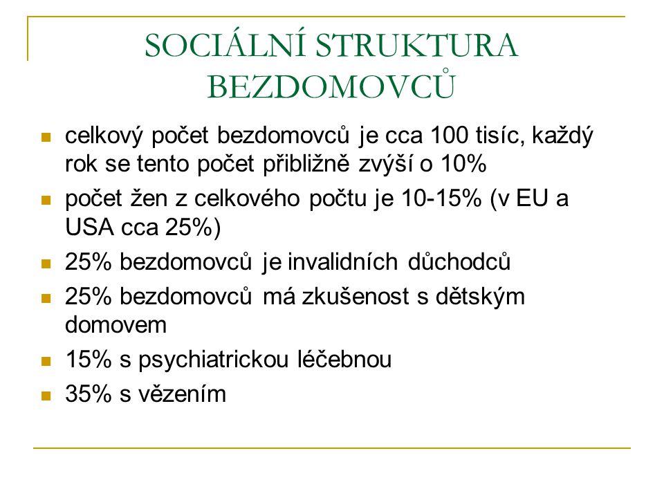 SOCIÁLNÍ STRUKTURA BEZDOMOVCŮ