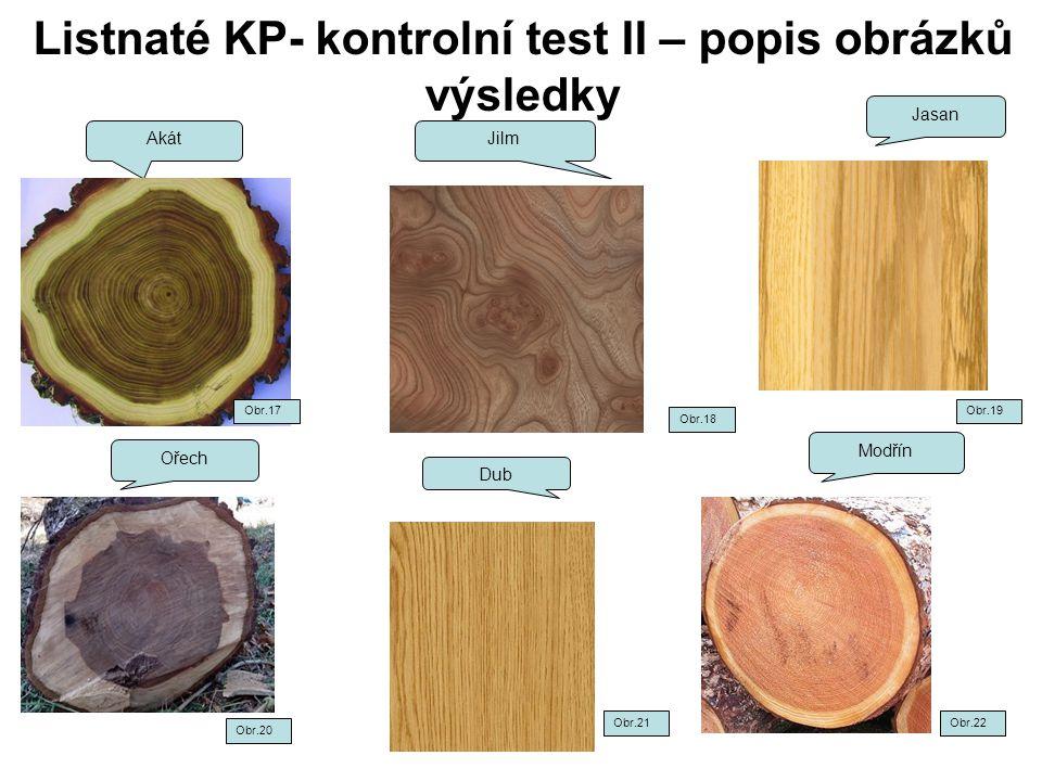 Listnaté KP- kontrolní test II – popis obrázků výsledky