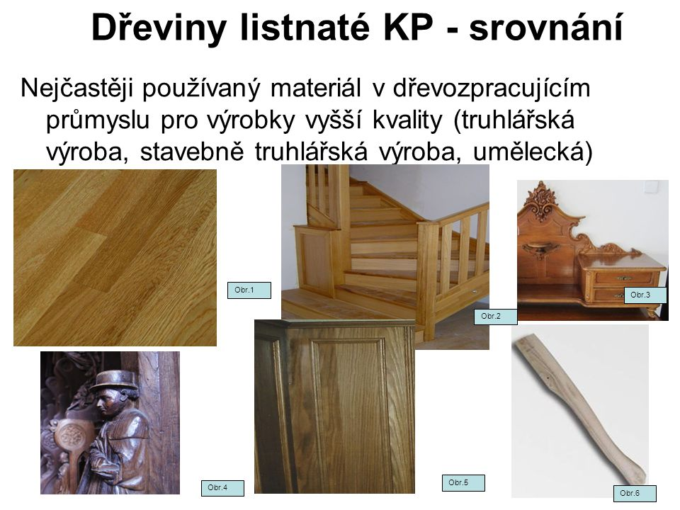 Dřeviny listnaté KP - srovnání