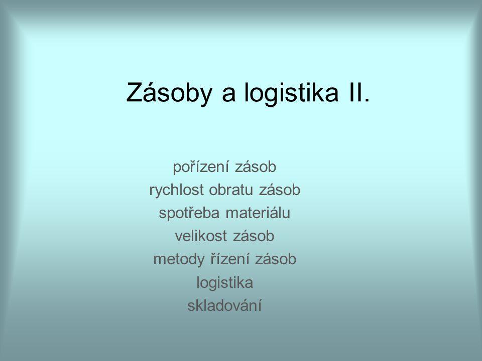Zásoby a logistika II. pořízení zásob rychlost obratu zásob