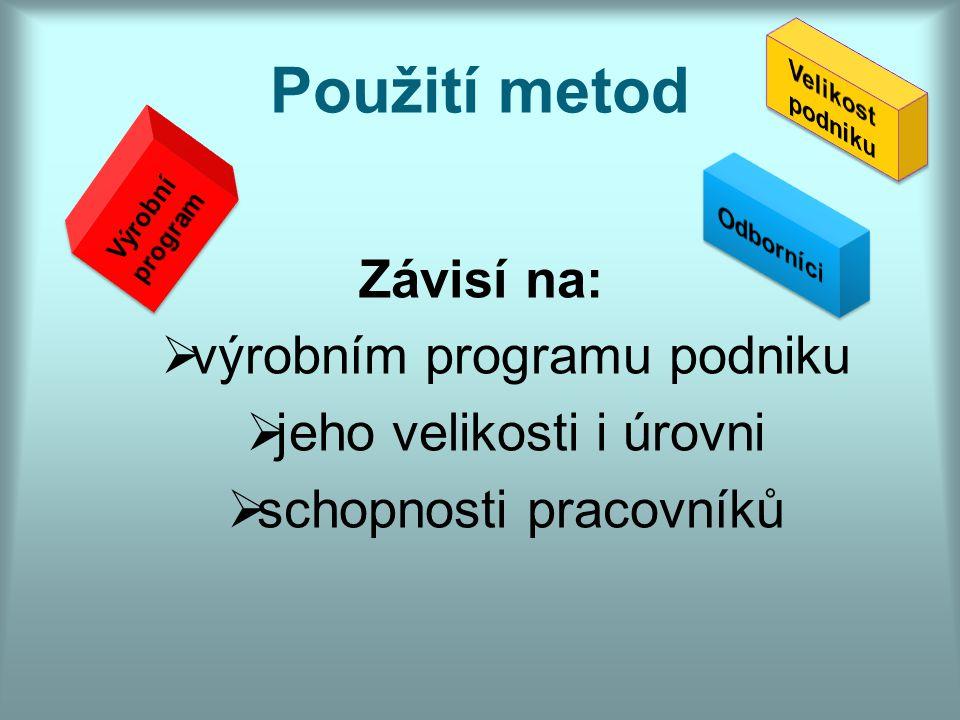 Použití metod Závisí na: výrobním programu podniku