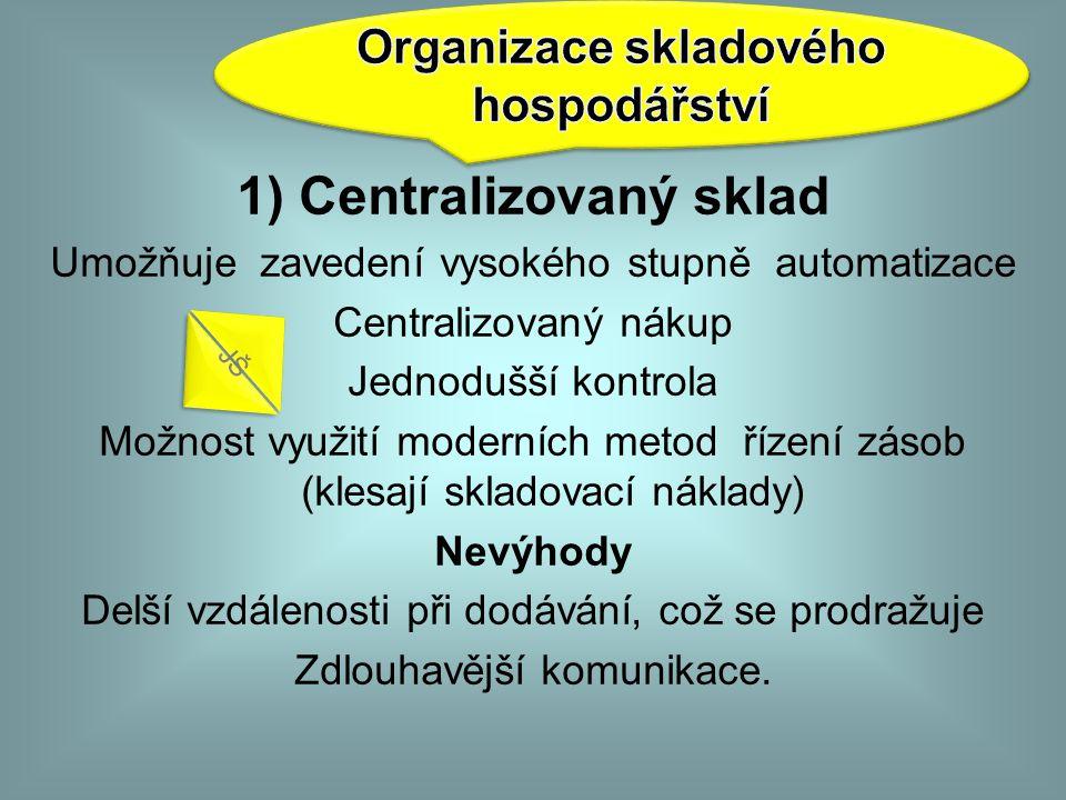 Organizace skladového hospodářství 1) Centralizovaný sklad
