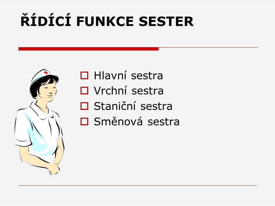 ŘÍDÍCÍ FUNKCE SESTER Hlavní sestra Vrchní sestra Staniční sestra