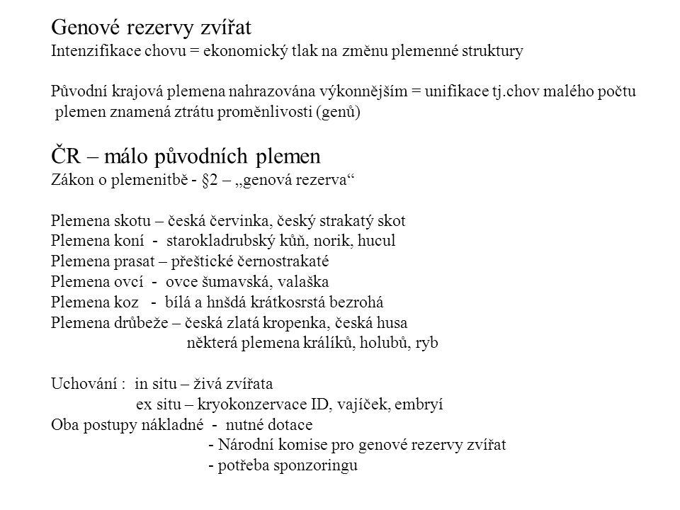 ČR – málo původních plemen