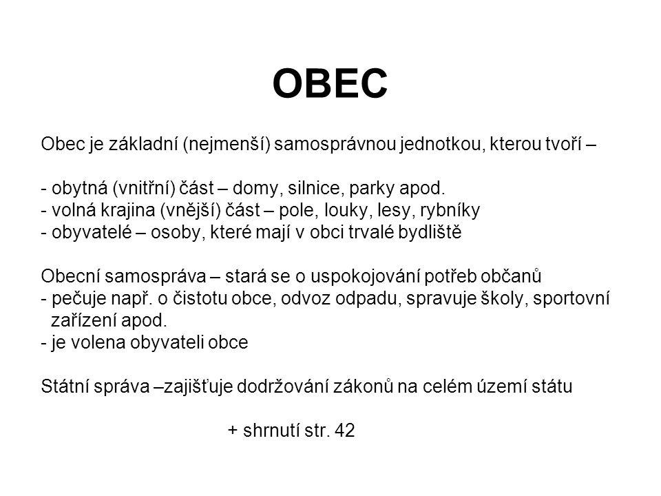 OBEC Obec je základní (nejmenší) samosprávnou jednotkou, kterou tvoří – obytná (vnitřní) část – domy, silnice, parky apod.