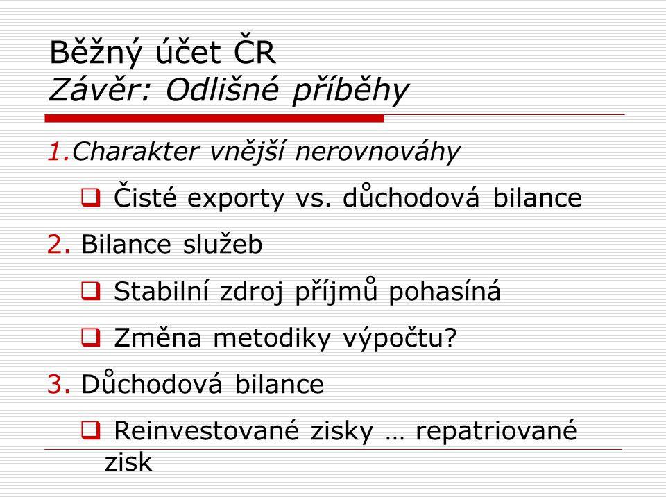 Běžný účet ČR Závěr: Odlišné příběhy
