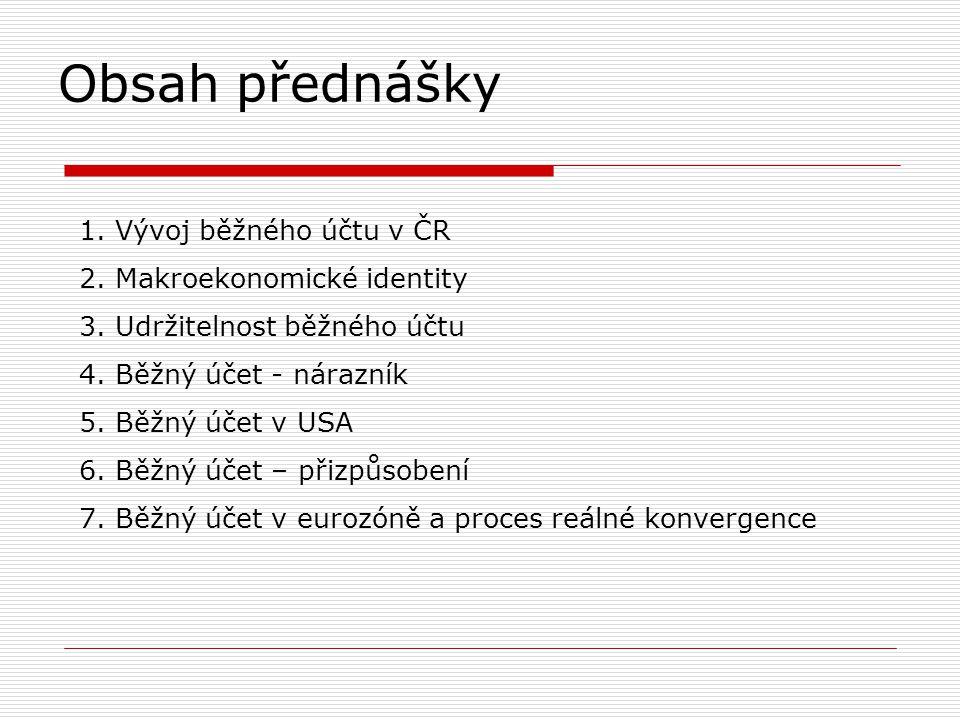 Obsah přednášky Vývoj běžného účtu v ČR Makroekonomické identity