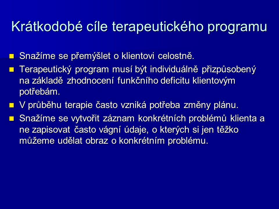 Krátkodobé cíle terapeutického programu