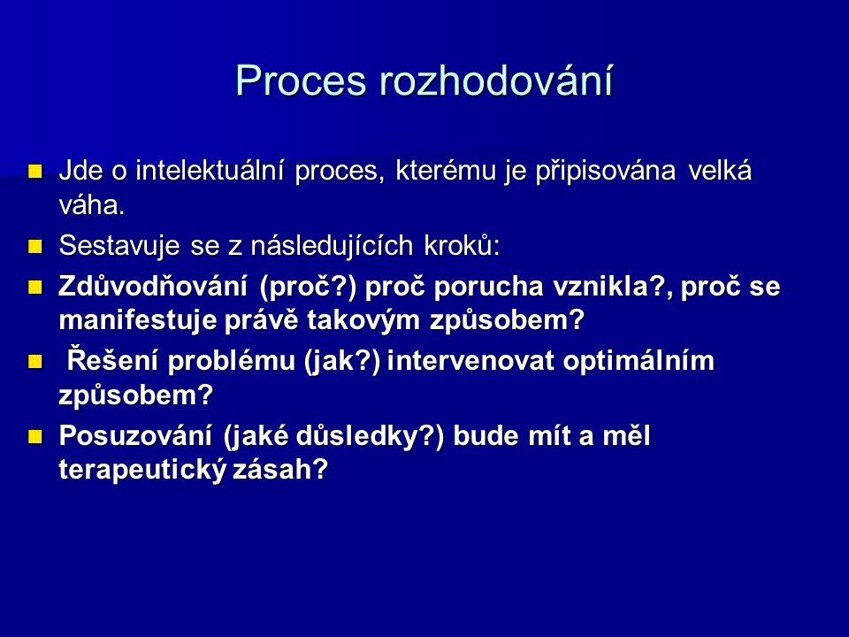 Proces rozhodování Jde o intelektuální proces, kterému je připisována velká váha. Sestavuje se z následujících kroků:
