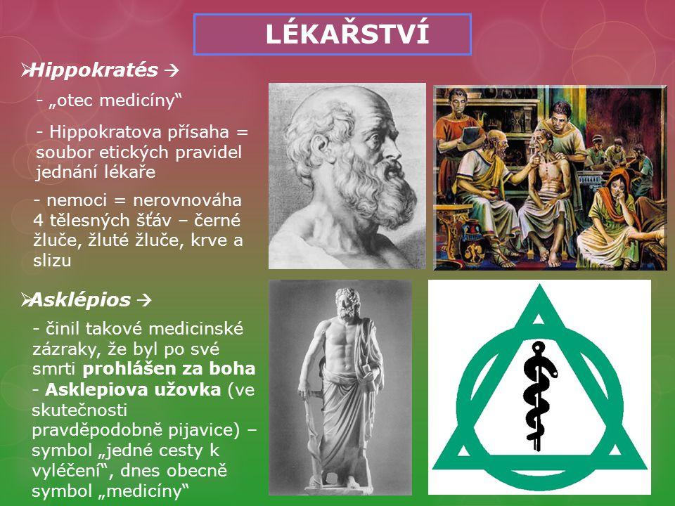 """LÉKAŘSTVÍ Hippokratés  Asklépios  - """"otec medicíny"""