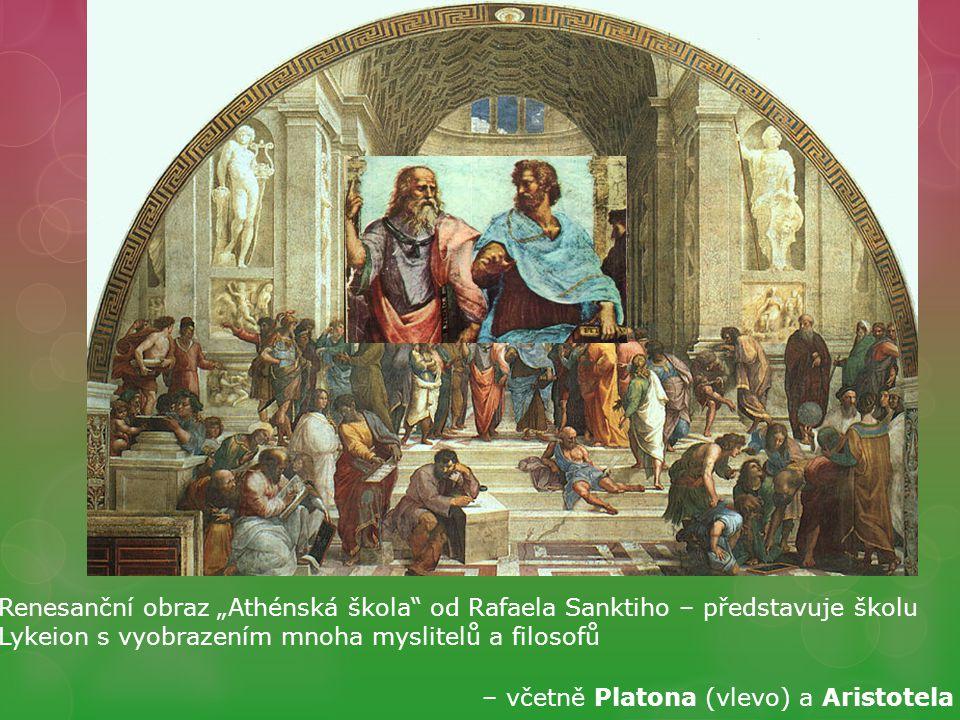"""Renesanční obraz """"Athénská škola od Rafaela Sanktiho – představuje školu Lykeion s vyobrazením mnoha myslitelů a filosofů"""