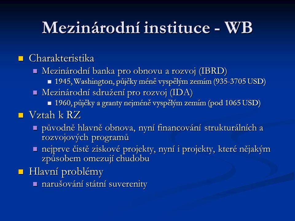 Mezinárodní instituce - WB