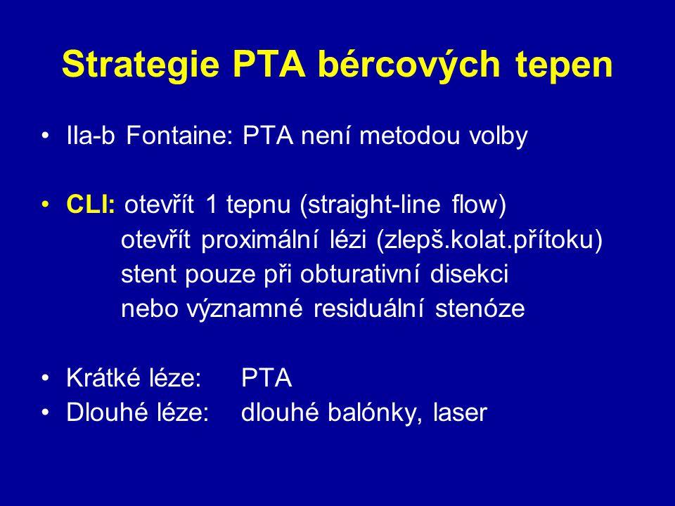 Strategie PTA bércových tepen