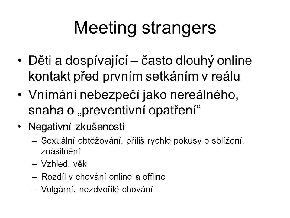 Meeting strangers Děti a dospívající – často dlouhý online kontakt před prvním setkáním v reálu.