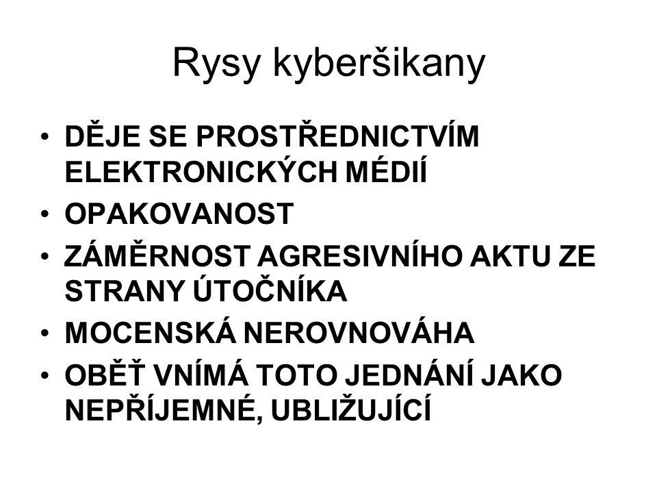 Rysy kyberšikany DĚJE SE PROSTŘEDNICTVÍM ELEKTRONICKÝCH MÉDIÍ