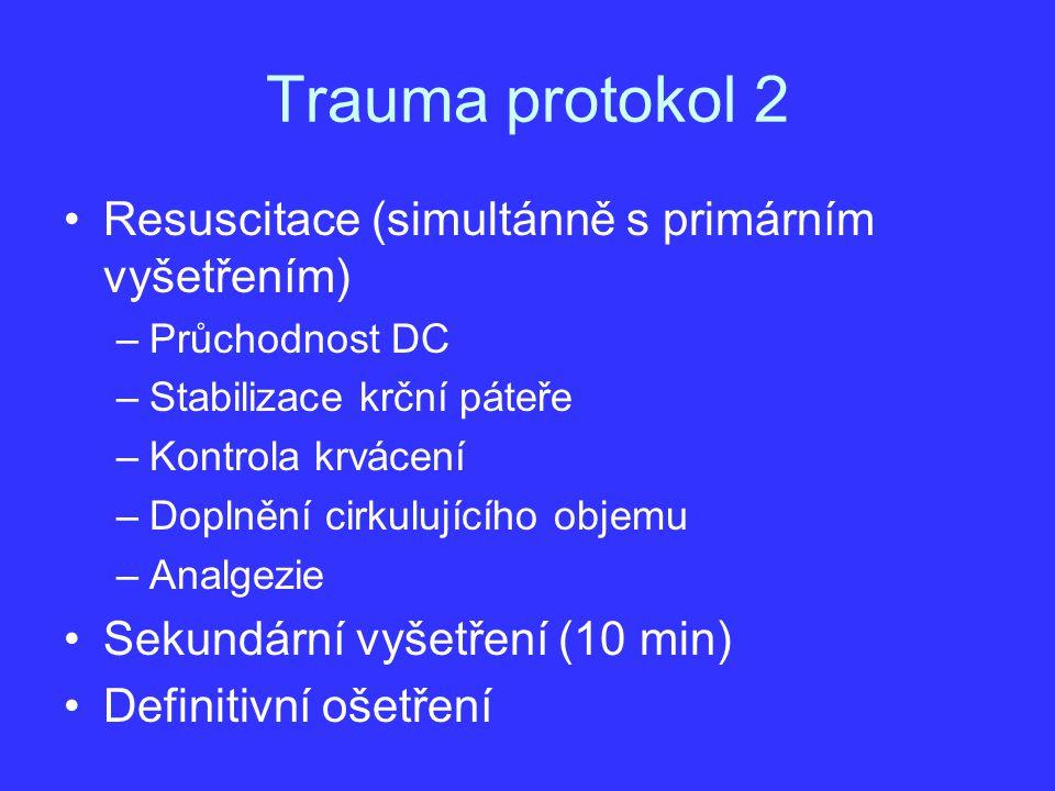 Trauma protokol 2 Resuscitace (simultánně s primárním vyšetřením)