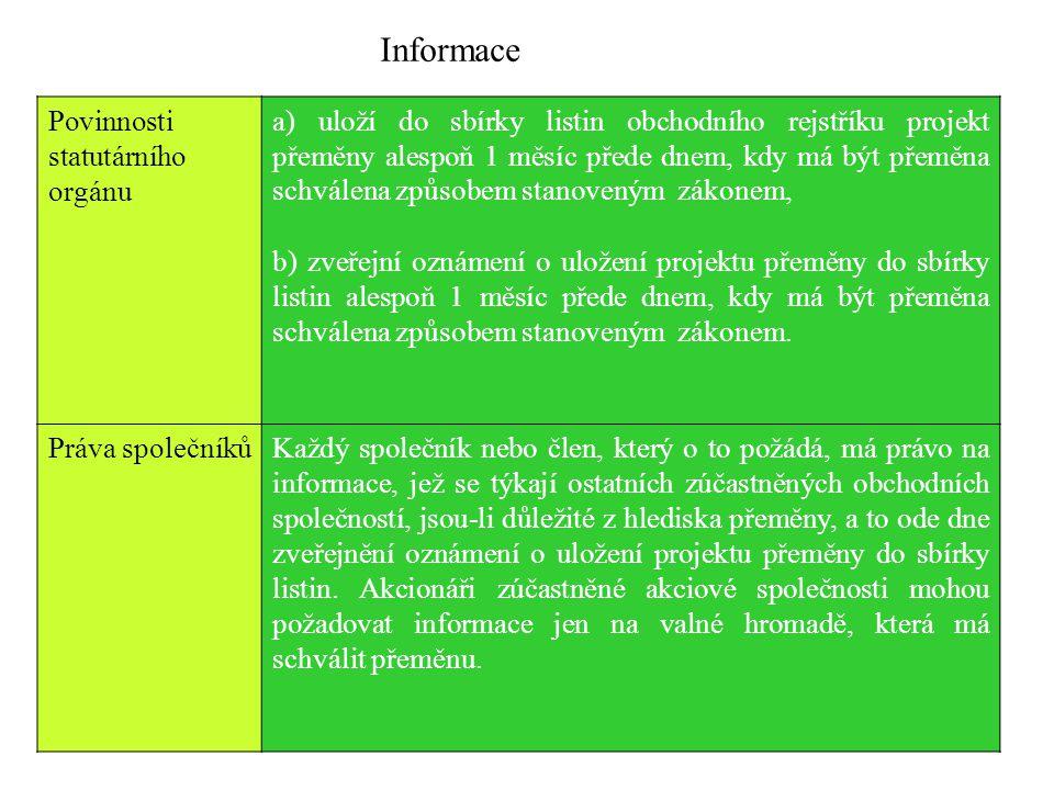 Informace Povinnosti statutárního orgánu