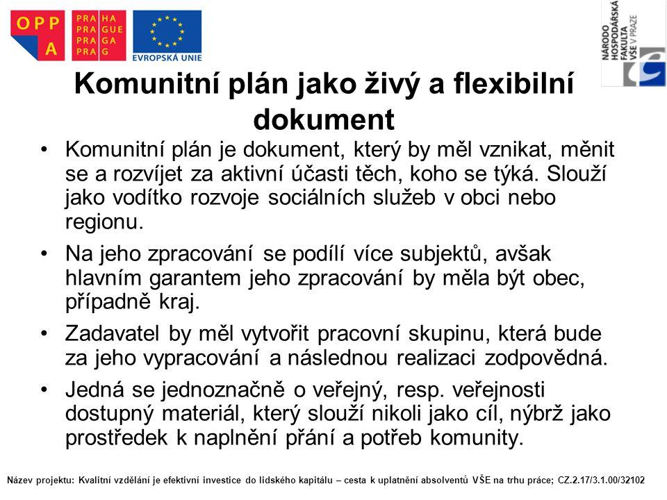 Komunitní plán jako živý a flexibilní dokument