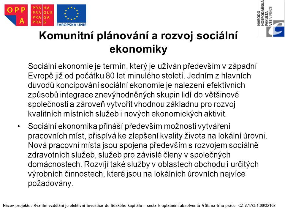 Komunitní plánování a rozvoj sociální ekonomiky