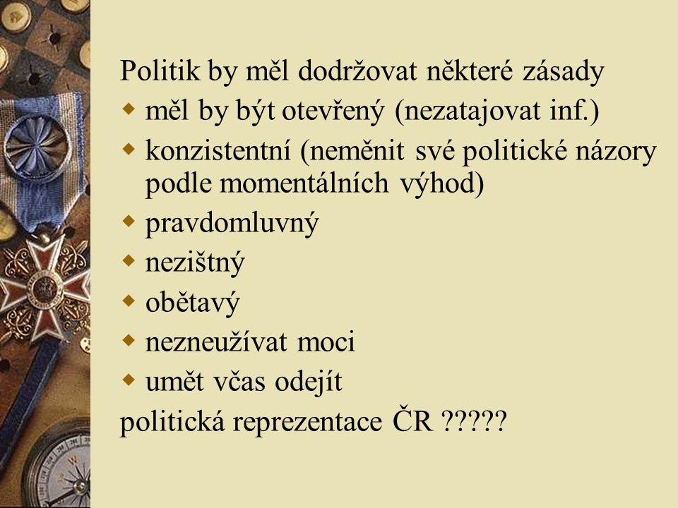 Politik by měl dodržovat některé zásady