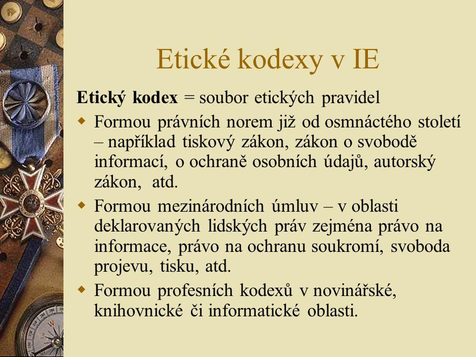 Etické kodexy v IE Etický kodex = soubor etických pravidel