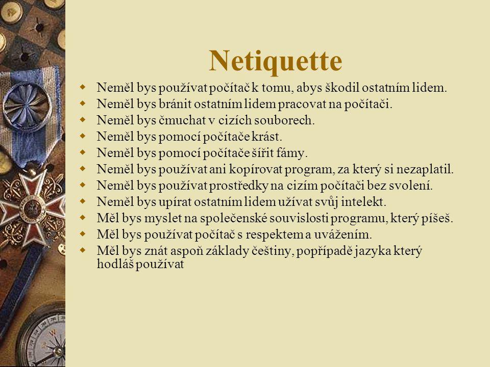 Netiquette Neměl bys používat počítač k tomu, abys škodil ostatním lidem. Neměl bys bránit ostatním lidem pracovat na počítači.