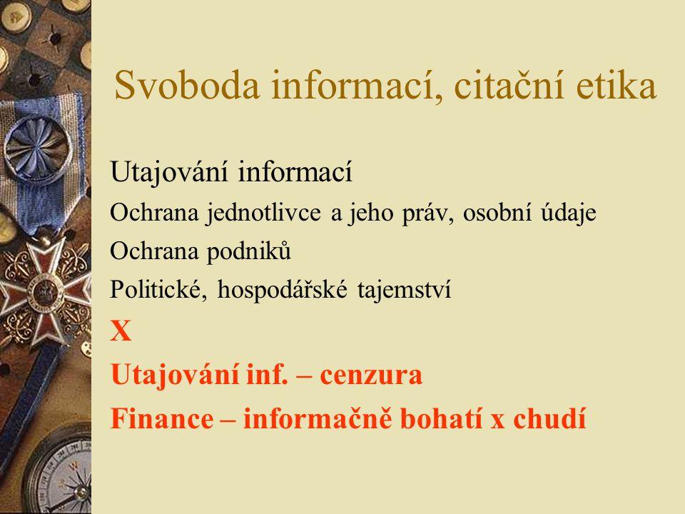 Svoboda informací, citační etika
