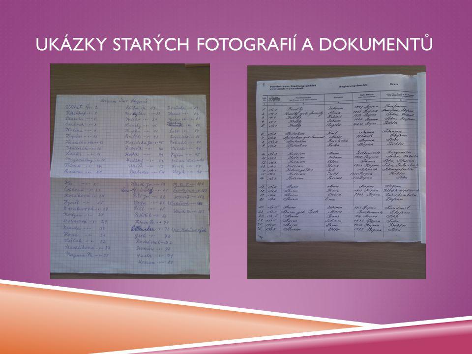 Ukázky starých fotografií a dokumentů