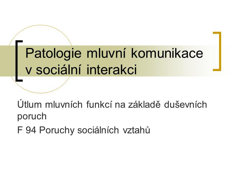 Patologie mluvní komunikace v sociální interakci