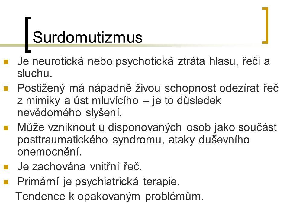Surdomutizmus Je neurotická nebo psychotická ztráta hlasu, řeči a sluchu.