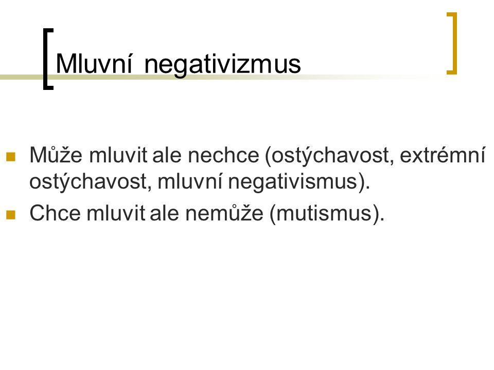 Mluvní negativizmus Může mluvit ale nechce (ostýchavost, extrémní ostýchavost, mluvní negativismus).