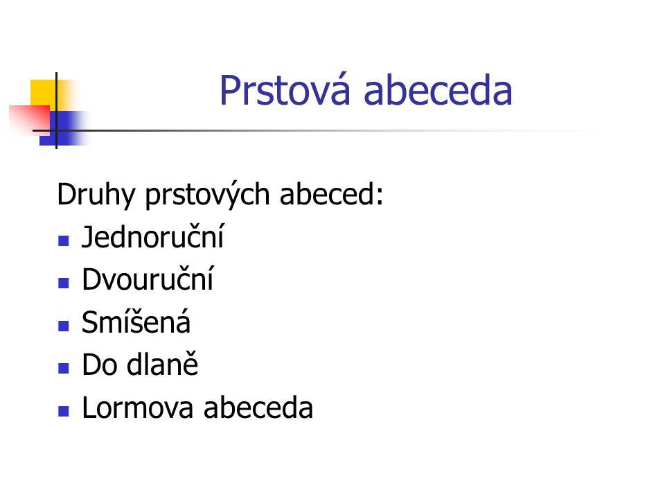Prstová abeceda Druhy prstových abeced: Jednoruční Dvouruční Smíšená