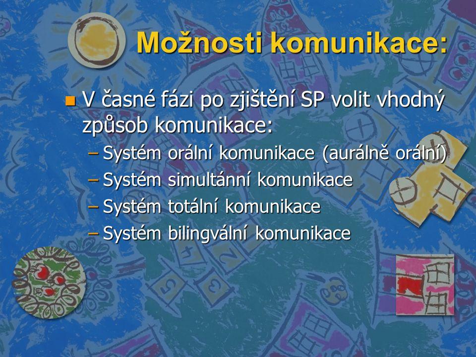 Možnosti komunikace: V časné fázi po zjištění SP volit vhodný způsob komunikace: Systém orální komunikace (aurálně orální)