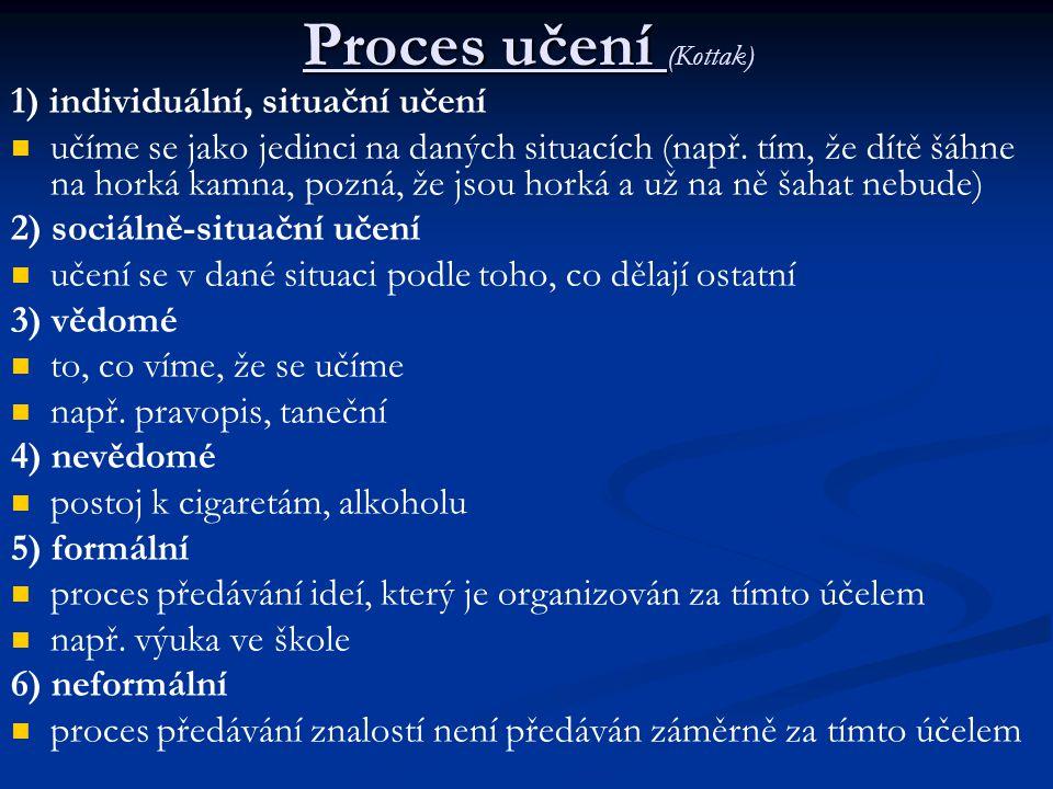 Proces učení (Kottak) 1) individuální, situační učení