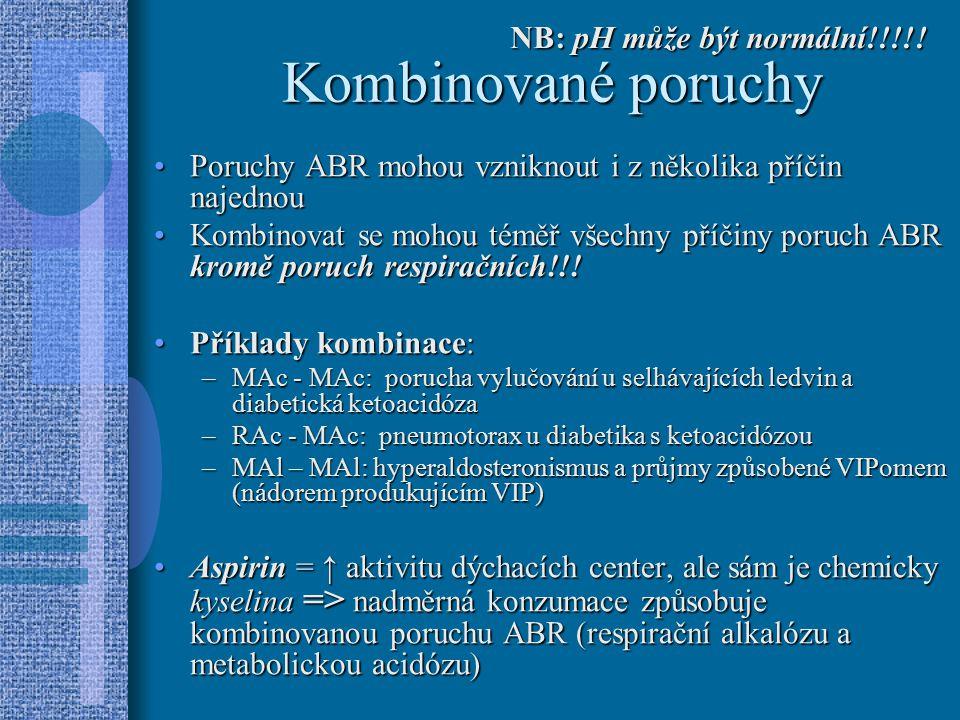 Kombinované poruchy NB: pH může být normální!!!!!