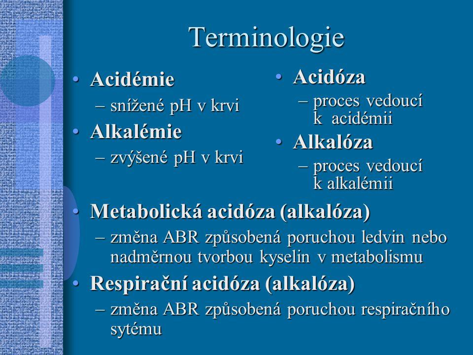 Terminologie Acidémie Alkalémie Metabolická acidóza (alkalóza)
