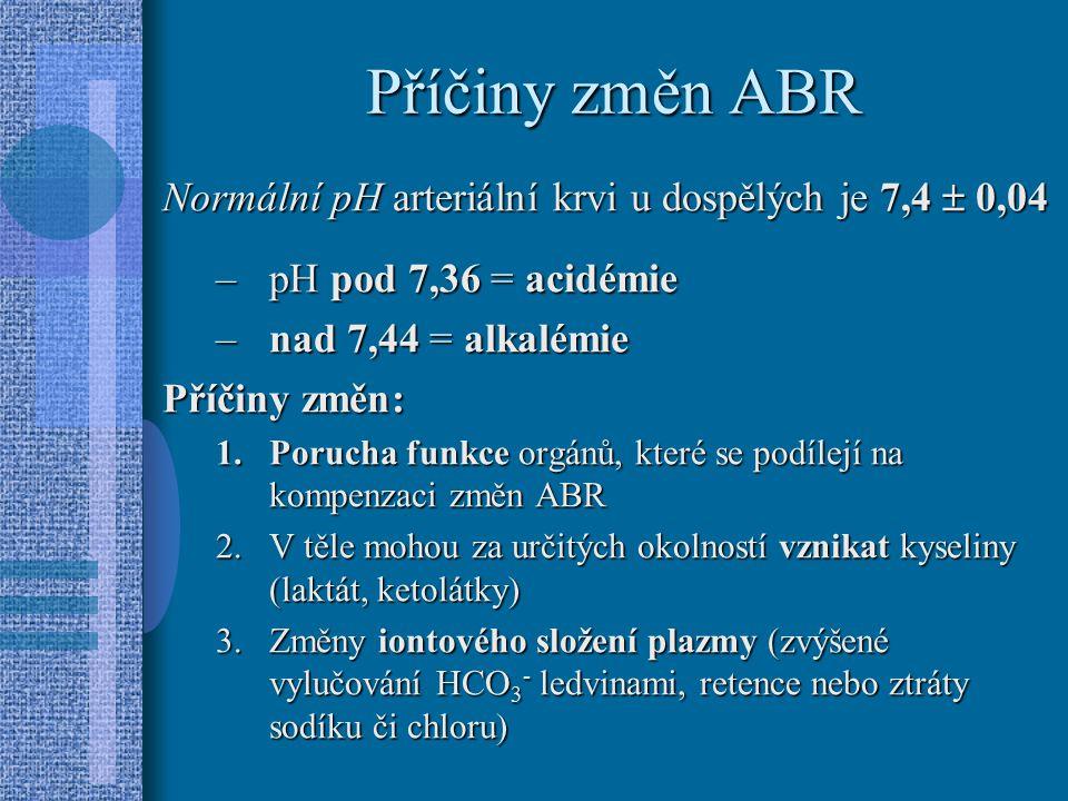 Příčiny změn ABR Normální pH arteriální krvi u dospělých je 7,4  0,04