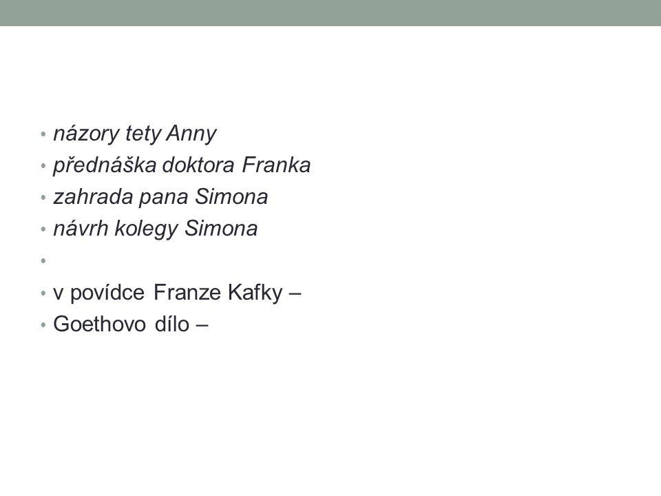 názory tety Anny přednáška doktora Franka. zahrada pana Simona. návrh kolegy Simona. v povídce Franze Kafky –
