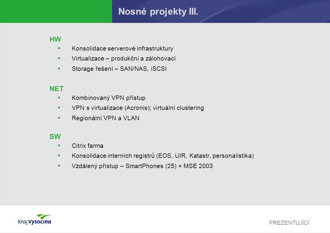 Nosné projekty III. HW NET SW Konsolidace serverové infrastruktury